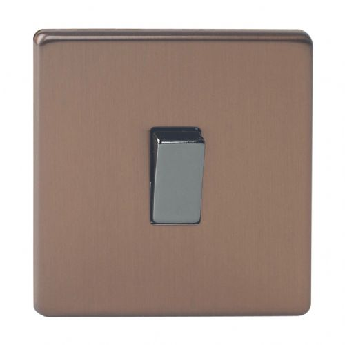Varilight XDY1S.BZ Screwless Brushed Bronze 1 Gang 10A 1 or 2 Way Rocker Light Switch